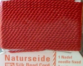 Red Size 12 Silk Beading Cord with Needle Attached -  Griffin Pure Silk Thread