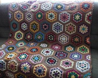 Handmade Crochet Cafe Latte (Light Brown) Edged Multi-Colored Kaleidoscope Afghan 48 x 68