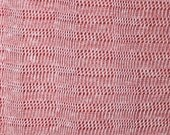 Red and White Heathered Open Weave Sweater Knit Fabric, 1 Yard