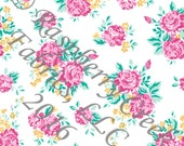 Fuchsia Aqua and Yellow Floral 4 Way Stretch Jersey Knit Fabric, Club Fabrics