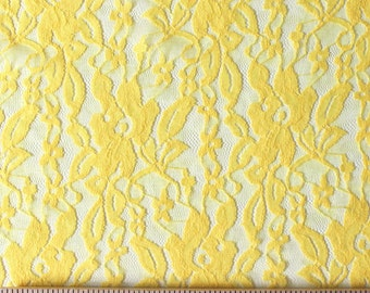 Goldenrod Yellow Floral Stretch Lace, 1 Yard