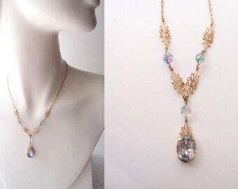 antique Edwardian necklace / Iris Glass & gold filigree flowers lavalier Y necklace