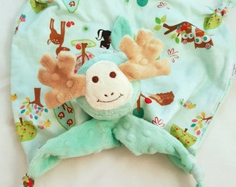 Security Blanket, Moose Lovey Blanket, Baby Blanket, Stuffed Animal, Kids Toy, Baby Girl, Stuffed Animal, Plush Toy, Personalize, Baby Toy