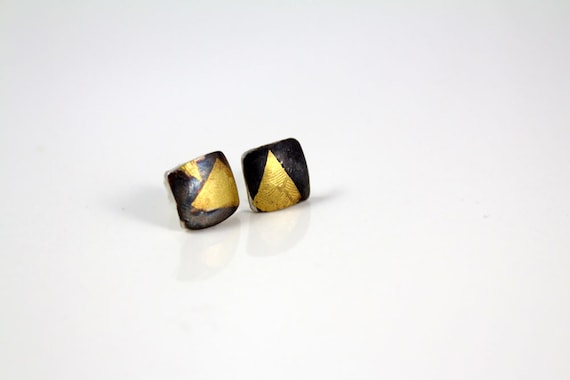 Small stud earrings, Keum boo earrings, silver studs, gold stud earrings, modern earrings