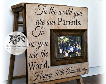 50th Anniversary Gifts, Parents Anniversary Gift, Golden Anniversary, To the World, Anniversary Frame, 25th Anniversary Picture Frame 16x16