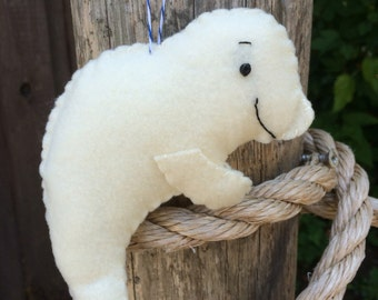 Baby Beluga Whale Felt Ornament--NEW for 2016