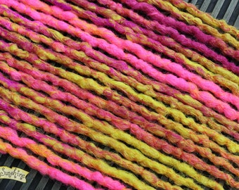 Pink and Yellow Crochet Synthetic Dreads x10 DE