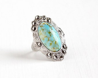 Sale - Vintage Sterling Silver Simulated Turquoise Cabochon Ring - Size 6 1/2 Art Deco Filigree Marcasite Teal Blue Oval Glass Stone Jewelry