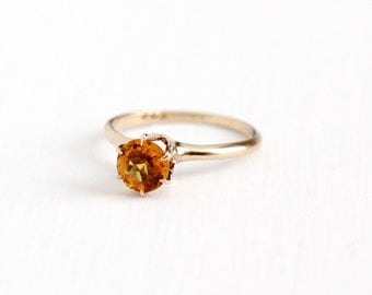 Sale - Antique 10k Rosy Yellow Gold Citrine Ring - Vintage Size 5 1/2 Edwardian Solitaire Orange Gem November Birthstone P & S Fine Jewelry