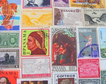 Isthmus Be Love 50 Premium Vintage Panamanian Postage Stamps Republic of Panama Canal Zone Central America Latin America Latino Philately