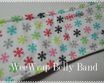 Dog Diaper Belly Band, Snowflake pattern, WeeWrap Stops Marking, Personalized
