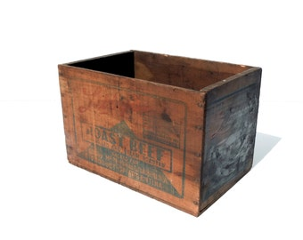 Vintage Wood Shipping Box / Advertising Wood Crate / Storage Organization / Old Wood Box / Libbys Roast Beef / Distressed Wood Box / Rustic