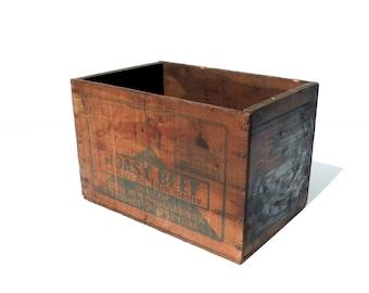 Vintage Wood Shipping Box / Advertising Wood Crate / Storage Organization / Old Wood Box / Libbys Roast Beef / Distressed Wood Box / Rustic