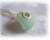 Large Hole Aqua Beach Sea Glass Pendant - Sterling Silver