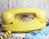 Yellow Princess Rotary Phone, Bell South Telephone, Vintage Rotary Phone