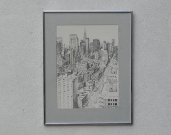 Sandra Finkenberg Pen & Ink of Manhattan Looking Toward Chrysler Building, Professionally Framed