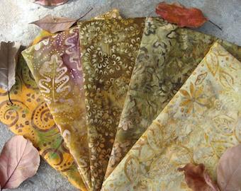 Early Autumn Batik Fabric Bundle in Fat Quarters or Half Yard Cuts