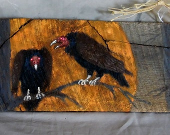 """The Witches Vultures, spooky, large hand painted barnwood, 28 1/2"""" x 5 1/2"""""""