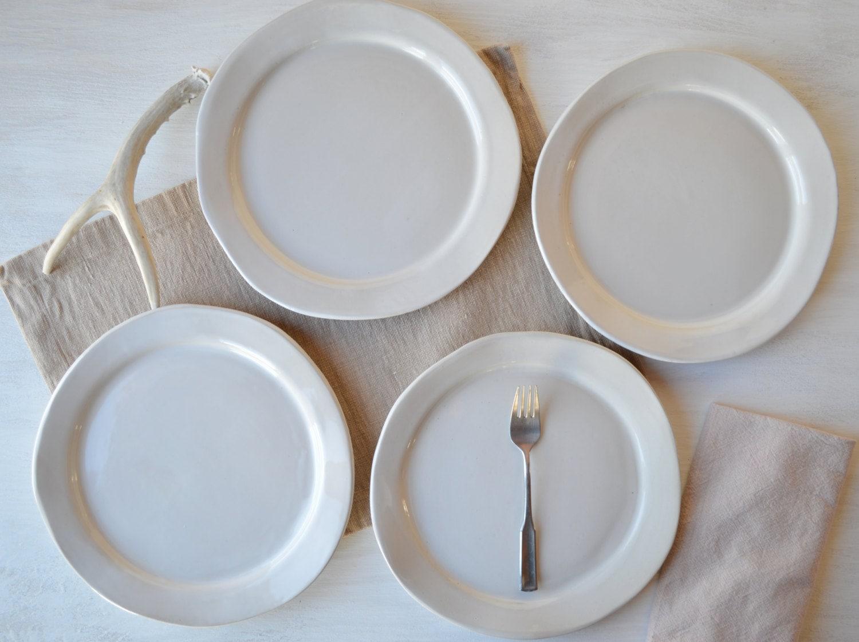 Handmade Stoneware Dinner Plates White Organic Dinnerware