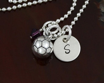 My Petite Soccer Ball   Sterling Silver Personalized Initial  Necklace