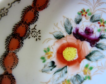 Little Dish Occupied Japan hand painted trinket gold floral collectible