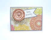 Birthday Greeting Card for Her, Grey and Peach Card, Paper Flower Card, Happy Birthday Handmade Paper Card