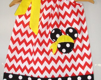 Minnie Mouse Pirate dress  Yellow red white  chevron Pirate  pillowcase dress appliqued Disney 3,6,9,12,18 months, 2t, 3t, 4t,5t,6,7,8,10,12