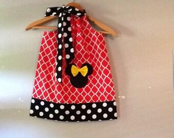 Disney Dress Minnie Mouse dress Red white yEllow BLACK  pillowcase dress Disney 3,6,9.12,18 months 2t,3t,4t,,5t,6,7,8,10,12b