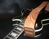 "Handmade Leather Guitar Strap. Natural Brown.""Mescalito""."