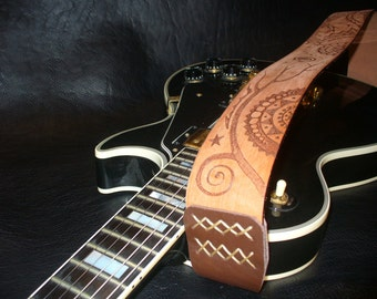 """Handmade Leather Guitar Strap. Natural Brown.""""Mescalito""""."""