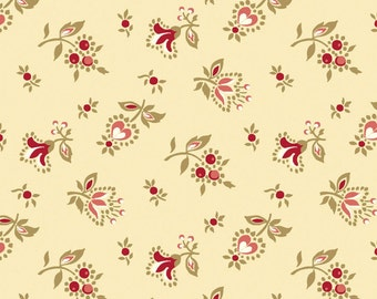 Classic Elegance Beige Floral Buds Quilt Fabric by the 1/2yd