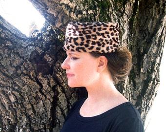 60s Leopard skin Pill box hat 1960s Faux fur leopard print hat