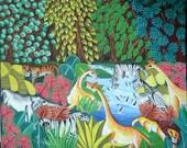 "Haitian Painting - Colorful Jungle Scene - Haitian Art - Hand Painted Canvas Painting - Ethnic Art, Original Art of Haiti - 20"" x 24"""
