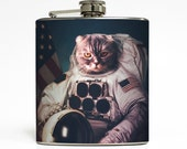 Cat Astronaut Flask Outer Space Aliens Earth Milky Way Galaxy Funny Adult Christmas Gag Gift Stainless Steel 6 oz Liquor Hip Flask LC-1560