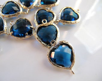 19mm Glass Link Connector Heart Charms Pendants, Gold Tone Brass with Denim Blue Gem, 19mm x 14mm, 2 Pieces, Clear Double Sided