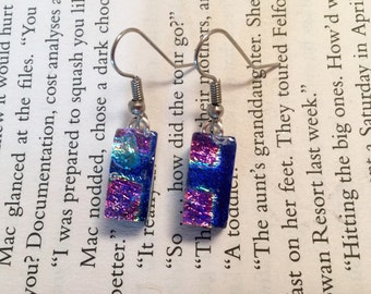 Dichroic glass, dichroic glass jewelry, Fused glass, glass jewelry, dichroic glass dangle earrings, handmade dichroic glass, dichroic glass