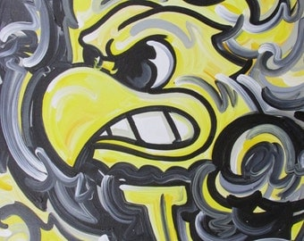 Officialy Licensed University of Iowa Painting by Justin Patten Herky Hawkeye Sports Art College Baseball Football Basketball