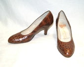 Vintage 50's Seymour Troy Brown Reptile Pumps Shoes - Size 6 1/2