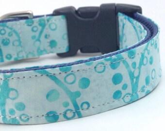 Custom Dog Collar - Turquoise Circles Dog Collar - Teal Sapphire Batik Dog Collar - Dot Batik Collar