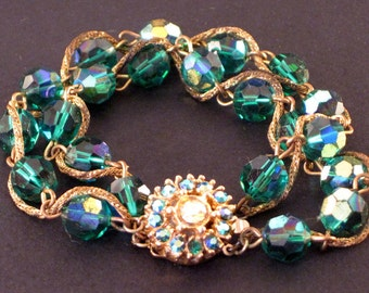 Bergere Green Aurora Borealis Rhinestone Bracelet Vintage Jewelry emerald gold