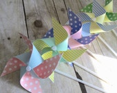 Paper Pinwheels Easter Favors Birthday Favors Spring Pinwheels Set of 5 Pinwheels Baby Shower Table Centerpiece Photo Prop Pastel Favors