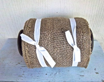 Burlap Ribbon Supply Vintage Spool Ten Yards Burlap Wrapping Ribbon Craft Supply Floral Supply Wedding Supply Spool