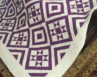 Quilt Ohio Star and Diamonds Purple and White Queen Ready to Ship
