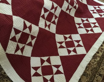 Quilt Ohio Star on Point Deep Red and White Queen Ready to Ship
