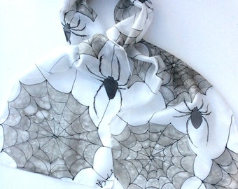 Spider hand painted silk scarf.  Spider 's web scarf,   Silk scarves. Gothic scarf