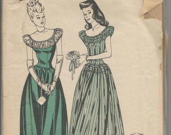 1940s Evening Gown Basque Bodice Dirndl Skirt  Butterick 3741 Factory Folds Gathered Yoke Puff Sleeve Bust 32 Women's Vintage Sewing Pattern