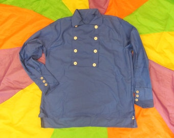 Woman's Monkees style Small Blue 8 button Bib Front Shirt