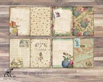 Printable Alice in wonderland journal. Printable pages, Sir John Tenniel illustrations, Commercial supplies, Printable journal, art journal