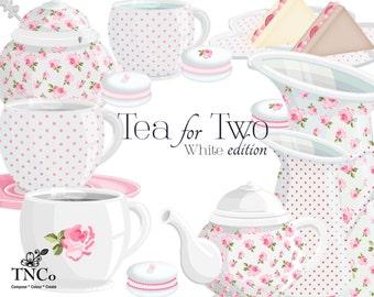 Teapot clip art - Rose tea set - Tea cup clipart - Polka dot teapot - Macaroon cookies - Tea party decor - Tea lovers - commercial use