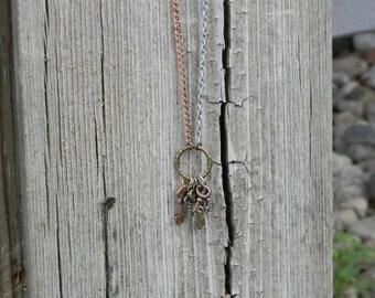 Mixed Metal Skeleton Key Ring Necklace #7797